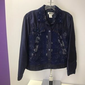 Coldwater Creek Blue Silk Poly Jacket PS